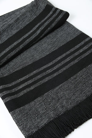 Black with White and Black Ticking Sunbrella Throw Blanket