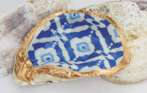 Oyster Shell Jewelry Bowl - Blue Ikat