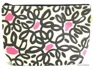 Large Pouch - Wired Pink and Black