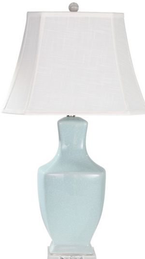 Set of Two Ceramic Table Lamp, Light Blue, 31""