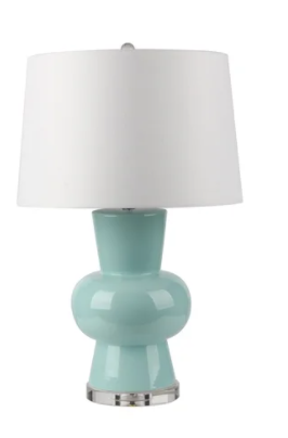 "Ceramic 28"" Single Gourd Table Lamp, Light Blue"