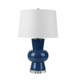 "Set of Two Ceramic 28"" Single Gourd Table Lamp, Navy Blue"