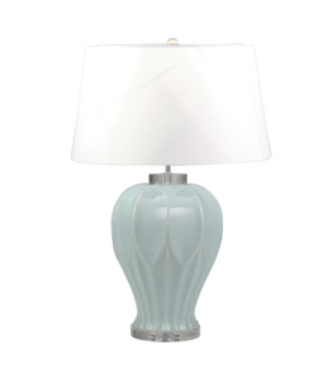 "Set of Two Ceramic 27"" Textured Table Lamp, Teal"