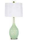 "Set of Two Cut Glass 30"" Table Lamp Green"
