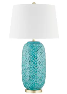"Set of Two Ceramic 31"" Textured Table Lamp, Teal"
