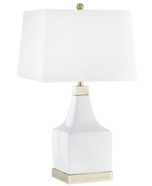 "Set of Two Ceramic 30"" Square Base Table lamp, White"