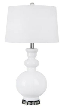"Set of Two Glass 32"" Table Lamp, White"
