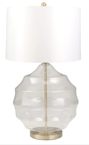 "Set of Two Glass 32"" Irregular Glove Table Lamp, Clear"