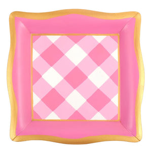 Buffalo Plaid Gingham Social Tray - Pink