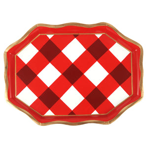 Tea Tray - Buffalo Plaid Check Red and White