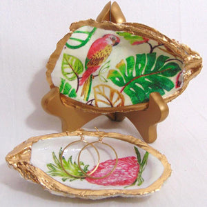 Oyster Shell Jewelry Bowl - Tropical Parrot and Palm Leaf