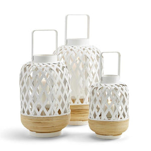 White Lattice Lanterns Set of 3