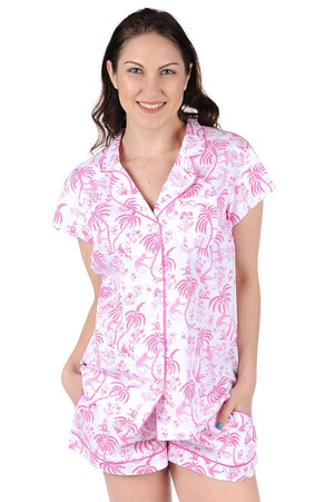 Cotton Poplin Summer Pajama Set - Monkey
