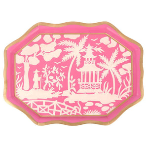 Shanghai Tea Tray - Pink and White