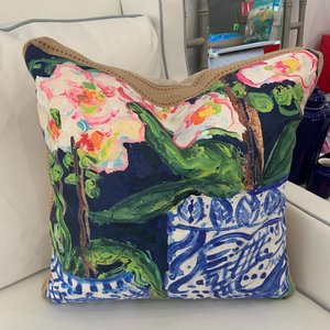 22x22 Pillow by Artist : Becca Speight (Floral Chinoiserie #1)