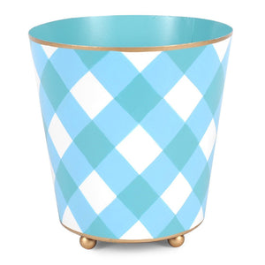 Round Cachepot - Blue Gingham Diamond