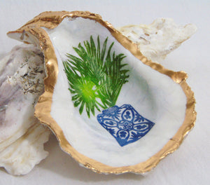 Oyster Shell Jewelry Bowl - Palm Frond Plant in Jar
