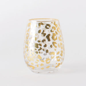 Stemless Wineglass - Gold Leopard