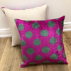 Vintage S/2 Pink with Green Polka Dots Silk Pillow