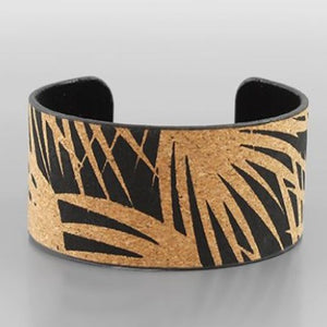 Cork Patterned Cuff Black and Natural