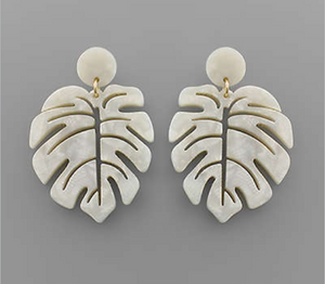 Acrylic Leaf Earrings Ivory