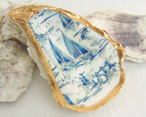 Oyster Shell Jewelry Bowl - Sailboat Toile