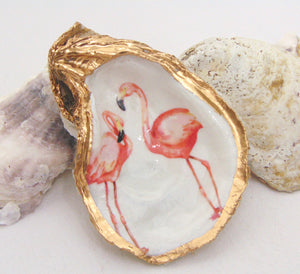 Oyster Shell Jewelry Bowl - Pink Flamingos