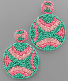 Curved Pattern Bead Disc Earrings PINK AND MINT