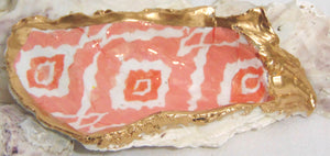 Oyster Shell Jewelry Bowl - Coral Ikat
