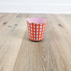 Scallop Wastebasket - Gingham Pink Orange