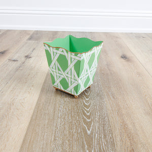 Square Cachepot - Cane Green
