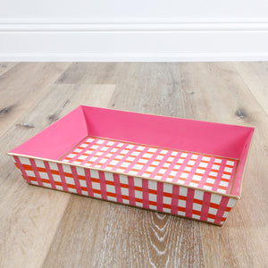 Gingham Pink and Orange Organizing Tray
