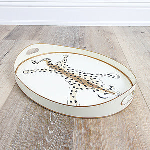 Cream Leopard Oval Tray