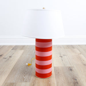 In Store Only Stacked Table Lamp - Pink and Orange Stripe