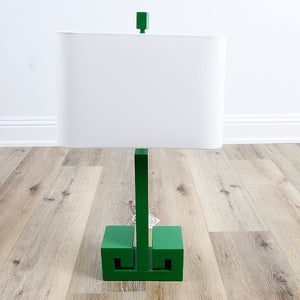 Greek Key Table Lamp - Kelly Green