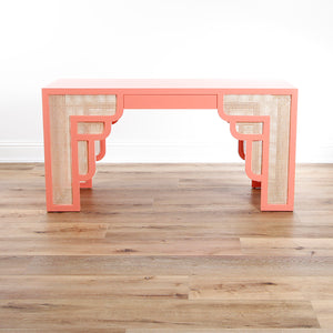 In Store Only Habanera Console - Coral with White Washed Cane