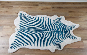 Teal and White Kalahari Zebra Rug
