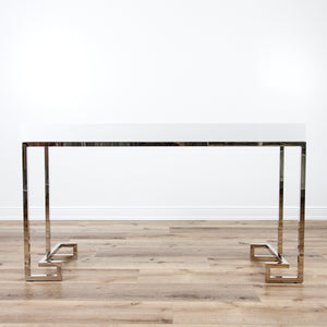 In Store Only Barsanti White Lacquer Console Table with Silver Greek Key Base
