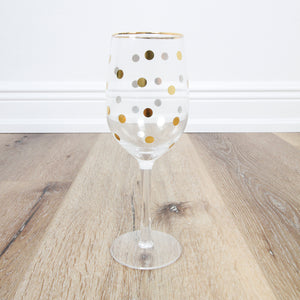Gold Dot Wineglass