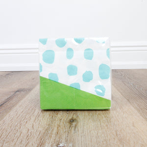 Cocktail Beverage Napkin - Blue Dots with Green