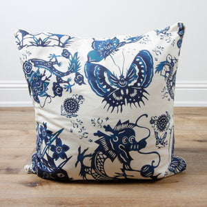Mandarin Blues on Bright White Decorative Accent Throw Pillow