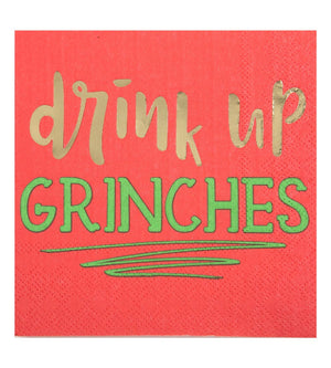 Cocktail Beverage Napkin - Drink Up Grinches