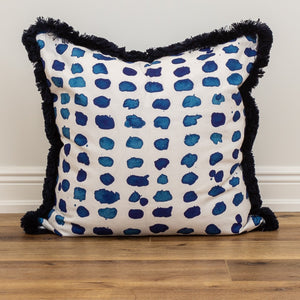 Indigo Fringe Decorative Accent Throw Pillow