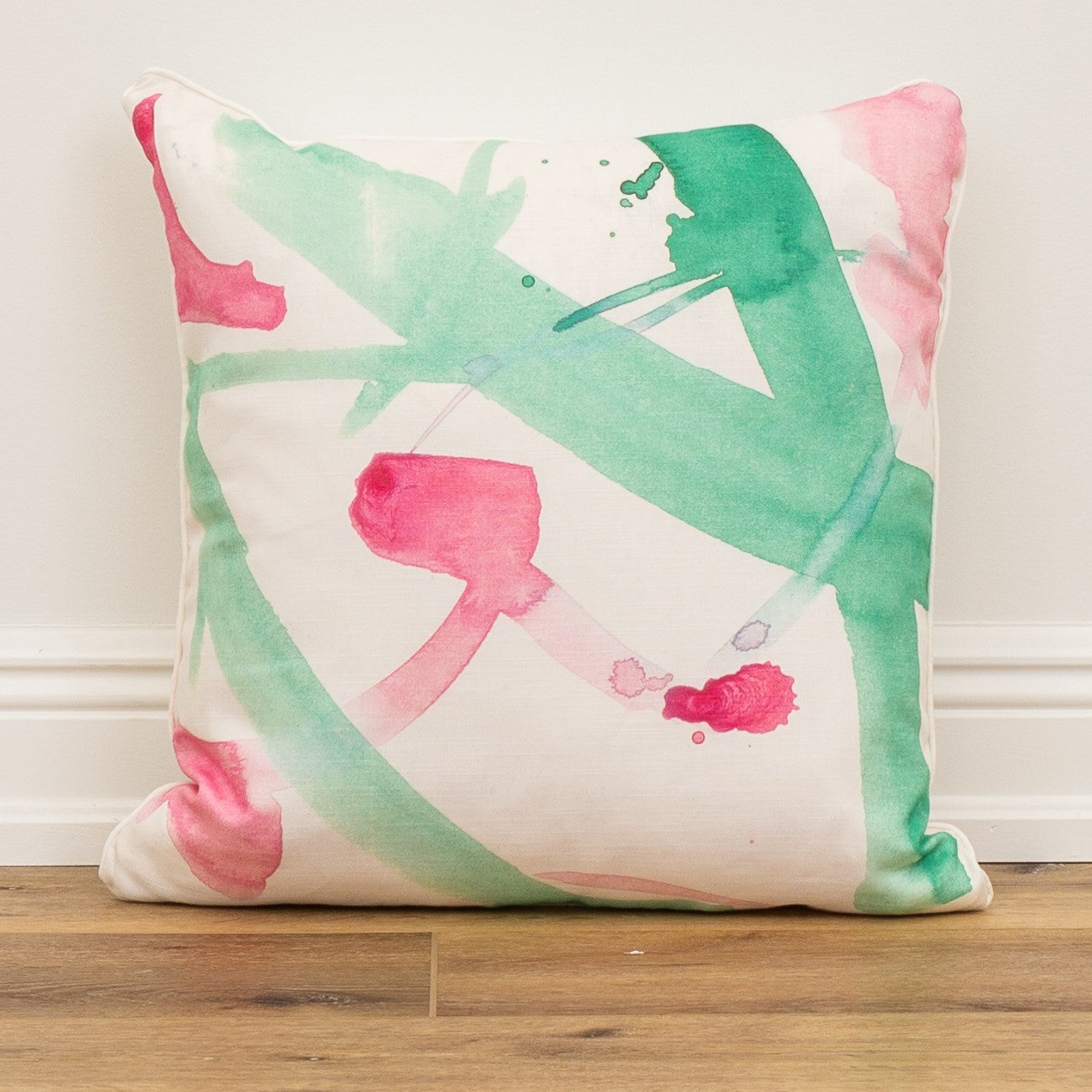 Pink and Green Watercolor Decorative Throw Pillow
