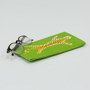 Leopard Eyeglass Case - Green