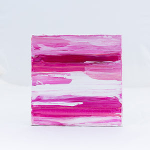 Acrylic Square Block Painting - Pink and White