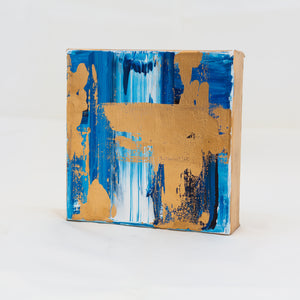 Acrylic Square Block Painting - Blue and Gold 1