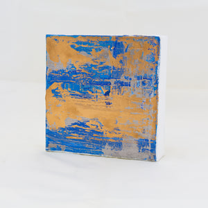 Acrylic Square Block Painting - Blue and Gold 2