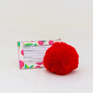 Luggage Tag with Pom Pom - Cherries