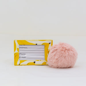 Luggage Tag with Pom Pom - Bananas